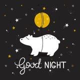 Красочная милая предпосылка с медведем, луной, звездами и английским текстом Спокойная ночь бесплатная иллюстрация