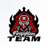 Красочная эмблема, стикер, значок, логотип пожарного в маске противогаза Спасательная команда, защитное оборудование, форма бесплатная иллюстрация