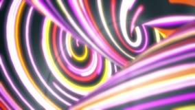 Красочные переплетенные линии пропуская быстрая, безшовная петля Абстрактная предпосылка движения с узкими линиями неонового свет бесплатная иллюстрация