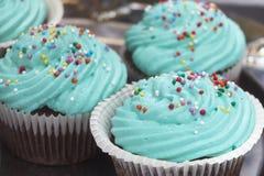 Красочные пирожные замороженные с разнообразие замораживая вкусами стоковое изображение