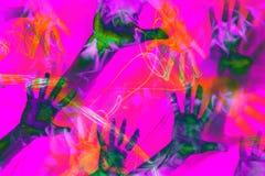 Красочные руки печатей на яркой ретро предпосылке стиля vaporwave Коллаж современного искусства иллюстрация вектора