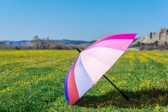 Красочный зонтик помещенный на траве в солнечном дне стоковое фото rf