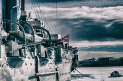 Крейсер `Аврора` Cruiser `Aurora` Landmark St. Petersburg Stock Images