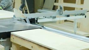 Круглая пила в действии, плотник режа вне листы переклейки Изготовление деревянной мебели сток-видео