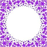 Круглая рамка небольших пурпурных цветков иллюстрация вектора