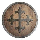 Круглый деревянный экран с крестом металла в разбивочной иллюстрации 3d иллюстрация штока