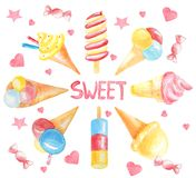 Card from different colored ice cream, pink candies with the inscription `Sweet` in the middle of the frame royalty free illustration