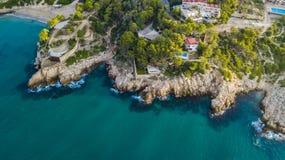 Крышка de Salou, пляж Dorada Косты - назначение перемещения в Испании стоковое фото rf