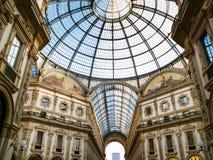 Крытый Galleria Vittorio Emanuele II в Милане стоковое фото rf