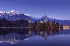 Кровоточенное озеро ночью зимы со звездами и отражением стоковое фото rf