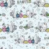 Кролик с яйцами под кустом Пасха картина безшовная иллюстрация штока