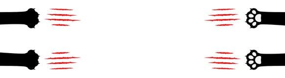 Коготь кота царапая установленную линию Черная нога ноги печати лапки След царапины царапины кровопролитных когтей животный красн иллюстрация штока