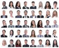 Коллаж портретов успешных работников изолированных на белизне стоковая фотография rf