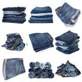 Коллаж джинсов изолированных на белизне стоковая фотография