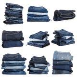 Коллаж джинсов изолированных на белизне стоковые фото