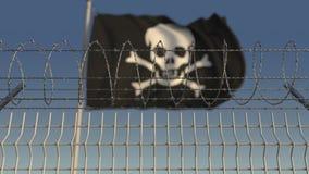 Колючая проволока против defocused развевая флага пирата черноты Веселого Роджера 3D анимация Loopable сток-видео