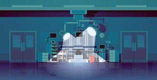 Комнаты хирургии операционного стола больницы лампы оборудования чистой медицинской современные с горизонтальным клиники световых иллюстрация штока