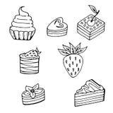 Комплект различных тортов иллюстрация штока
