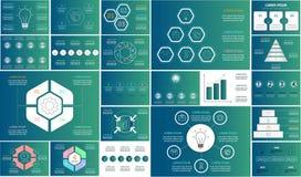 Комплект infographics вектора Собрание шаблонов для диаграммы цикла, диаграммы, представления и круглой диаграммы Концепция дела  иллюстрация вектора