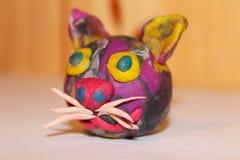Конец-вверх кота пластилина главный Творческие способности и дизайн стоковая фотография rf