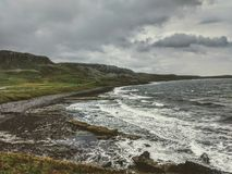 Конкретные штендеры и получившийся отказ бункер - остров Cramond, Эдинбург, Шотландия стоковое фото