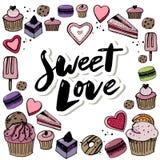 Кондитерская вектора установленные и значки помадок Десерт, леденец на палочке, мороженое с конфетами, macaron и пудинг Донут и к бесплатная иллюстрация