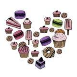 Кондитерская вектора установленные и значки помадок Десерт, леденец на палочке, мороженое с конфетами, macaron и пудинг Донут и к иллюстрация вектора