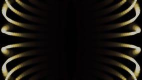 Конспект, небольшие, желтые точки в движении на черной предпосылке, безшовной петле Цифров, золотые, накаляя частицы двигают внут иллюстрация штока