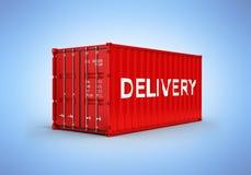Контейнер грузовых перевозок с доставкой надписи на голубой предпосылке 3d градиента бесплатная иллюстрация