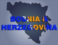 Контуры территории слова Боснии и Герцеговины и Боснии и Герцеговины в цветах национального флага иллюстрация вектора