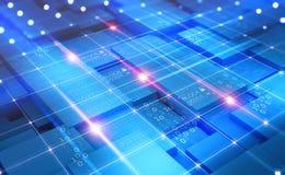 Концепция виртуального пространства абстрактная Сеть Blockchain Технология Fintech иллюстрация вектора