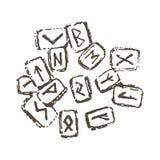 Концепция иллюстрации вектора значка деталя Runes Черным по белому предпосылка иллюстрация вектора