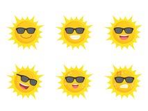 Концепция лета знака значка собрания стекел глаз Солнца нося установленная иллюстрация вектора