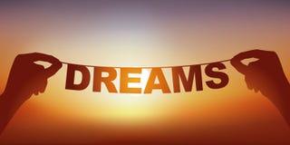 Концепция мысли с руками держа знамя на что пишут мечту слова иллюстрация вектора