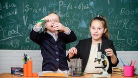 Концепция науки Студенты спортзала с глубоким исследованием естественных наук Частная школа Проект школы стоковые фото