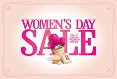 Концепция плаката продажи дня женщин, предложение выходных праздника иллюстрация вектора