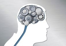 Концепция человеческого робота с мозгом сделанным из шестерней для того чтобы проиллюстрировать отражение иллюстрация вектора