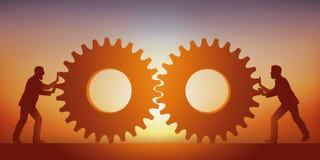 Концепция соединения которое прочность с 2 людьми которые сводят воедино их знание символизированное 2 шестернями иллюстрация штока