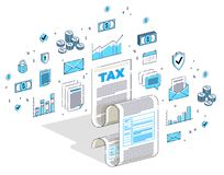 Концепция обложения, налоговая форма или правовой документ листа бумаги изолированные на белой предпосылке Равновеликая иллюстрац бесплатная иллюстрация