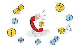 Концепция обслуживания клиента, горячая линия советует клиенту, онлайн глобальной службе технической поддержки 24/7, помощь Ч.З.В иллюстрация вектора