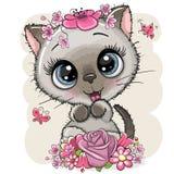 Котенок мультфильма с flowerson белая предпосылка бесплатная иллюстрация