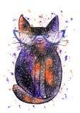 Кот космоса акварели милый на белой предпосылке бесплатная иллюстрация
