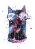 Кот космоса акварели милый на белом background= иллюстрация штока