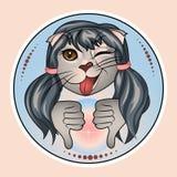 Кот Nastya с жестом нелюбов, недостатка, проигравшего иллюстрация вектора