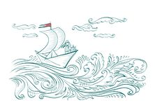 Origami paper boat on the waves of the sea with a sailor vector illustration