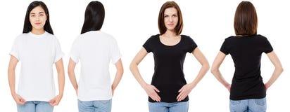 Корейская и белая женщина в пустой белой и черной футболке: передние и задние взгляды, насмешливые вверх, шаблон дизайна стоковые фотографии rf