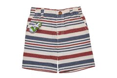 Короткие брюки изолировали Брюки короткие стильные striped демикотона лета изолированные на белой предпосылке Мода лета для мальч стоковое фото