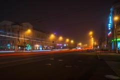 Ландшафт города ночи в длинном времени шторки стоковое изображение rf