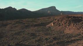 Ландшафт космоса необжитой пустыни вулканического плато держателя Teide сток-видео