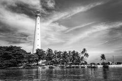 Ландшафт черно-белого маяка стоковая фотография rf